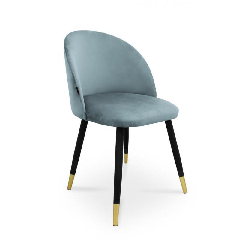 krzesło SONG / srebrno-niebieski / noga czarno-złota / BL06