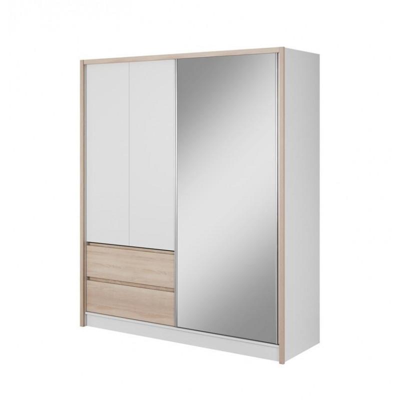 Przesuwna szafa ubraniowa z lustrem i szufladami SARA 180 cm biała + sonoma