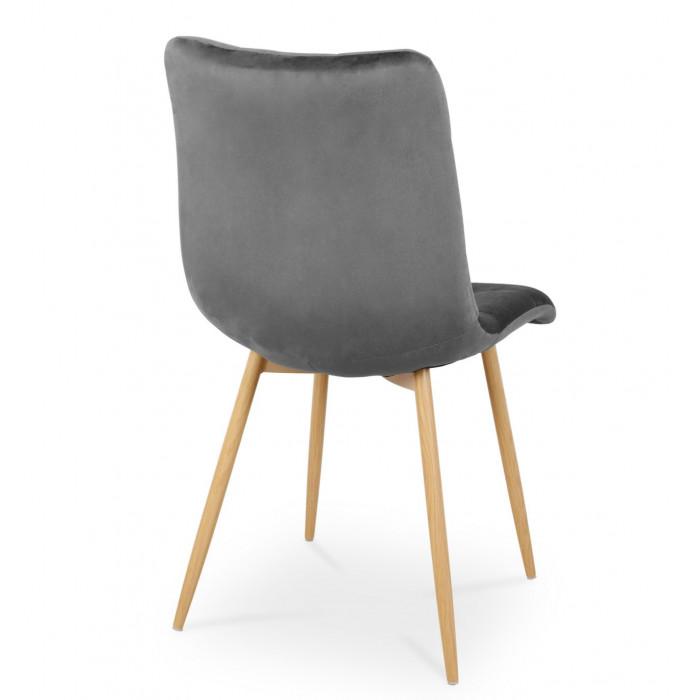 Nowoczesne krzesło tapicerowane do salonu BEN ciemno szare z nogą  dąb - tył