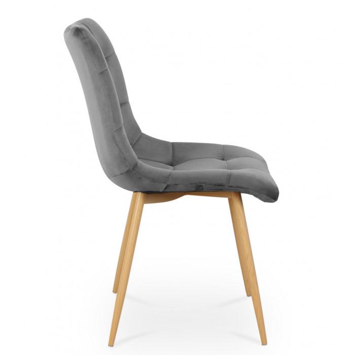 Nowoczesne krzesło tapicerowane do salonu BEN ciemno szare z nogą  dąb - bok