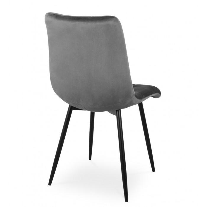 Nowoczesne krzesło tapicerowane do salonu BEN ciemno szare z nogą  czarną - tył