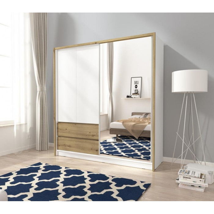 Szeroka szafa do sypialni z lustrem i szufladami SARA - 200 cm biała + dąb artisan