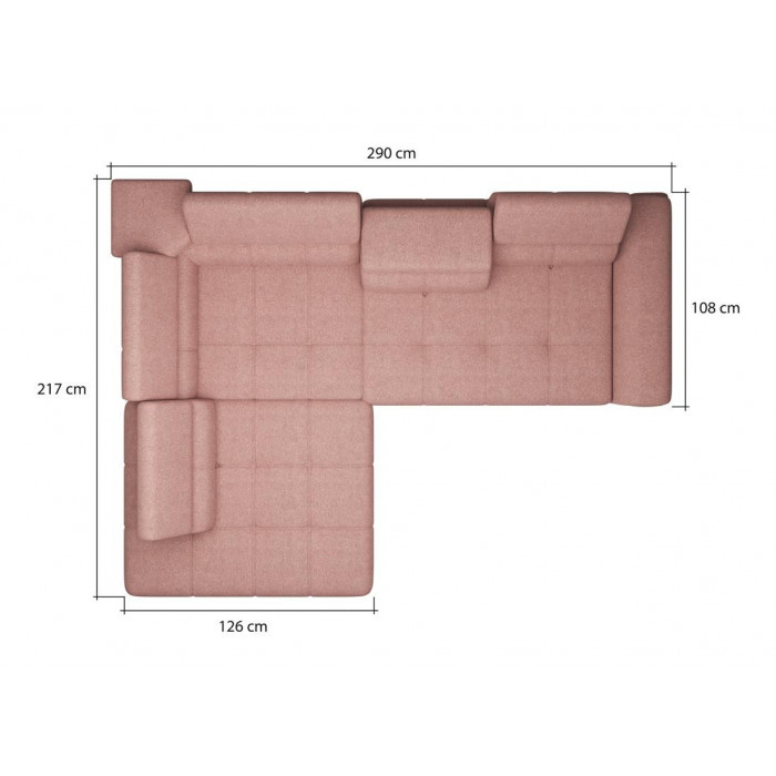 Komfortowy narożnik DENVO z dużą powierzchnią spania - wymiary