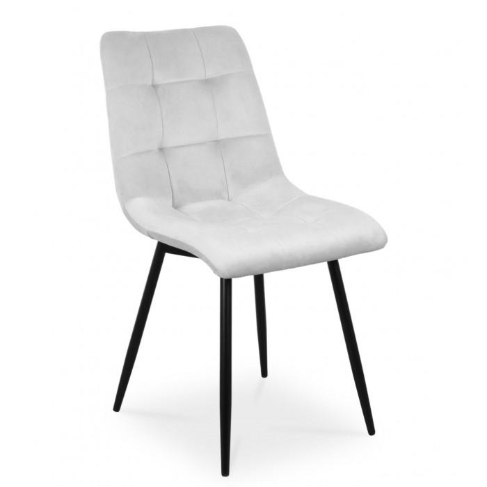 Zestaw nowoczesnych krzeseł tapicerowanych do salonu i jadalni BEN jasno szare z nogą czarną - przód