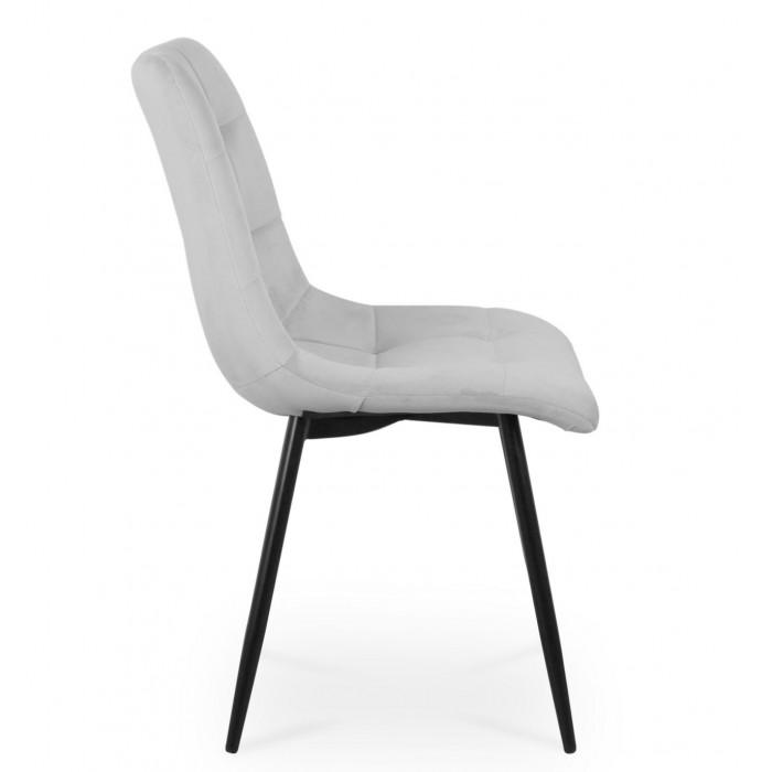 Zestaw nowoczesnych krzeseł tapicerowanych do salonu i jadalni BEN jasno szare z nogą czarną - bok