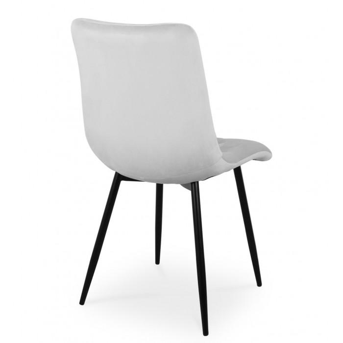 Zestaw nowoczesnych krzeseł tapicerowanych do salonu i jadalni BEN jasno szare z nogą czarną - tył