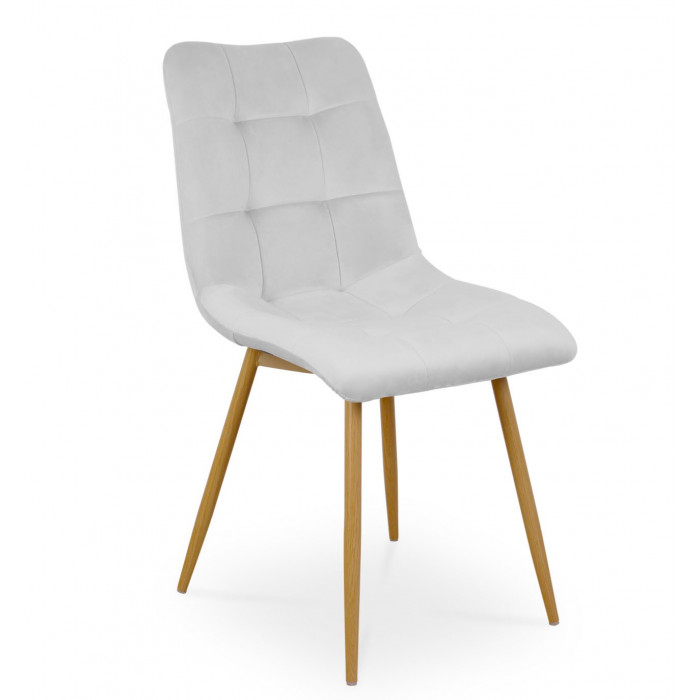 Zestaw nowoczesnych krzeseł tapicerowanych do salonu i jadalni BEN jasno szare z nogą  dąb - przód
