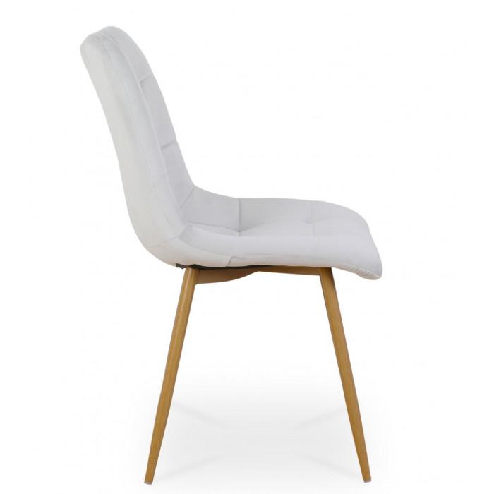 Zestaw nowoczesnych krzeseł tapicerowanych do salonu i jadalni BEN jasno szare z nogą  dąb - bok