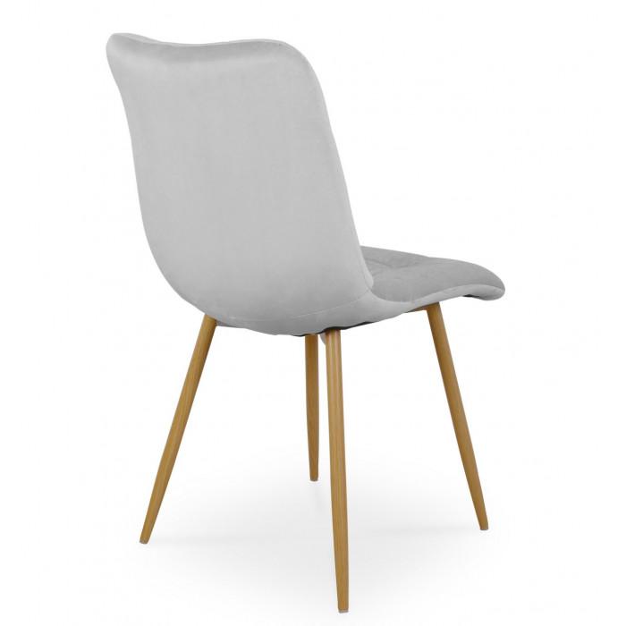 Zestaw nowoczesnych krzeseł tapicerowanych do salonu i jadalni BEN jasno szare z nogą  dąb - tył