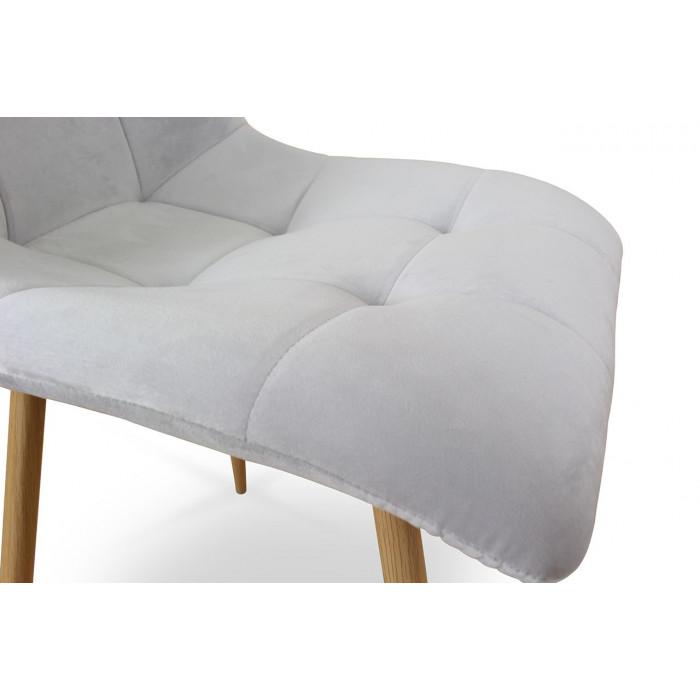 Zestaw nowoczesnych krzeseł tapicerowanych do salonu i jadalni BEN jasno szare z nogą  dąb - siedzisko