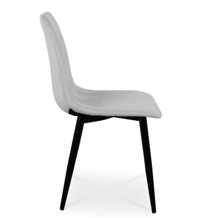 Nowoczesne krzesło TUX srebrny z nogą czarną - bok