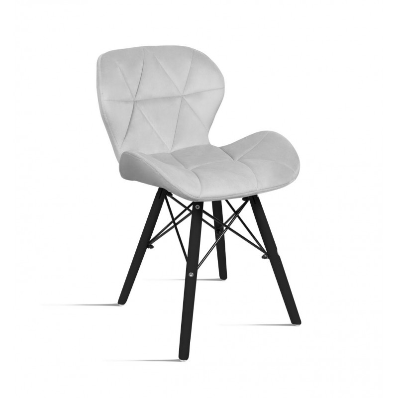 krzesło Milo Velvet jasny szary - noga czarna