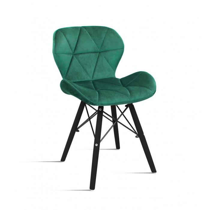 Krzesło do salonu Milo Velvet zieleń butelkowa na nodze czarnej - przód