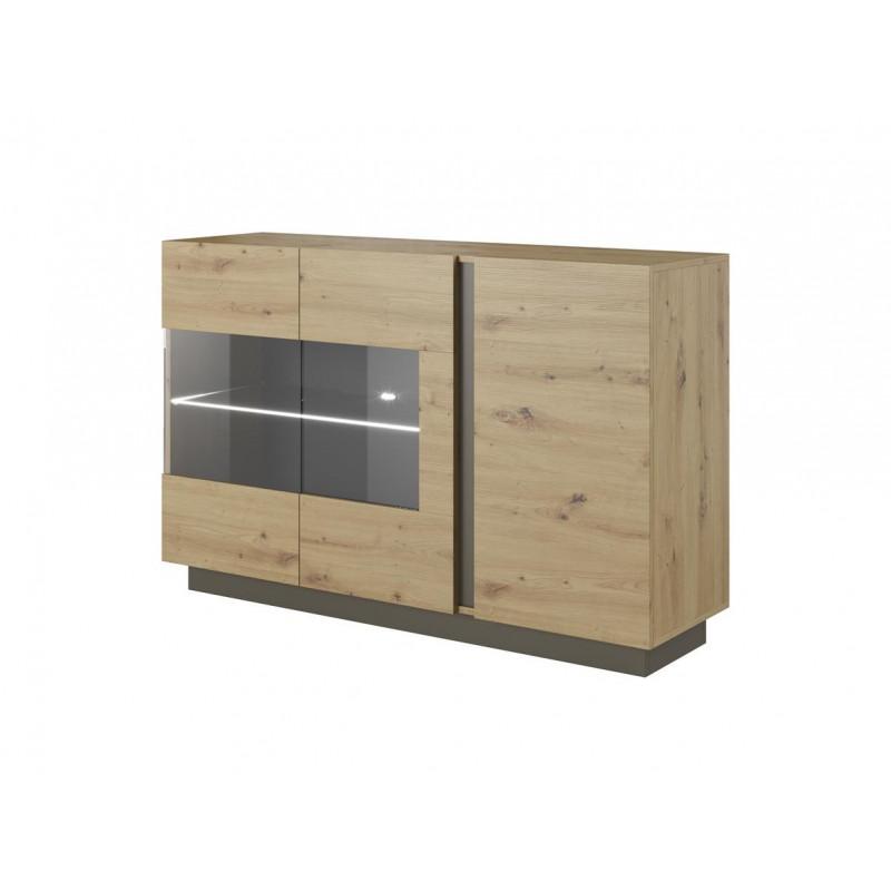 ALTO - komoda 138 witryna / Dąb artisan + grafit mat