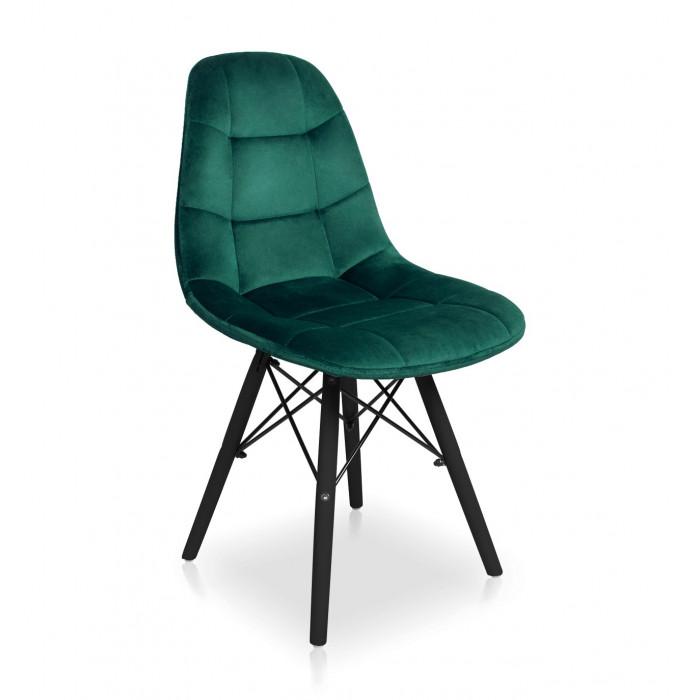 Nowoczesne Krzesło do jadalni Fabio Velvet butelkowa zieleń z nogą czarną