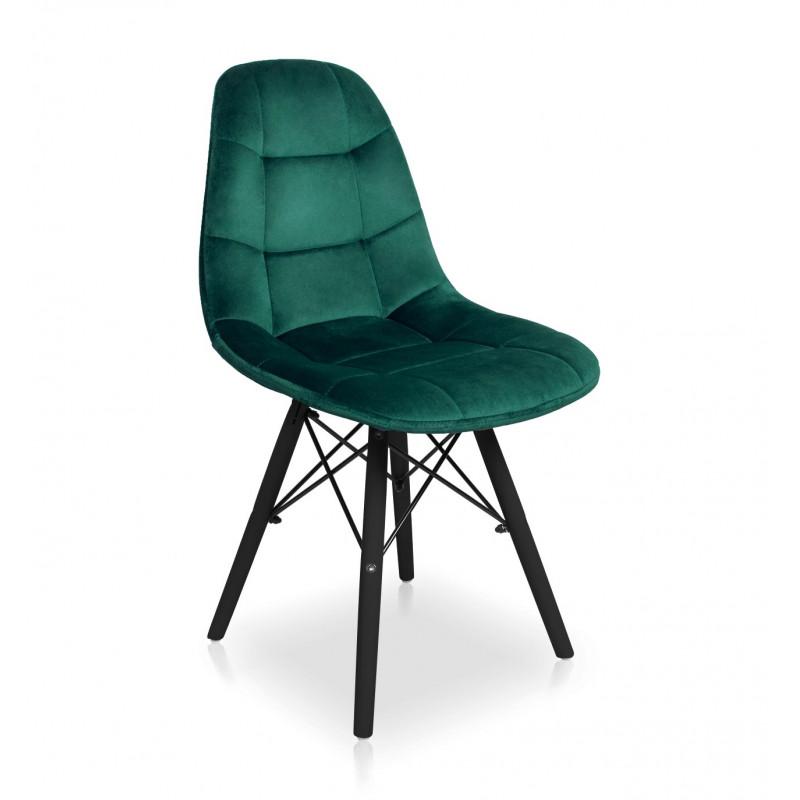krzesło Fabio Velvet butelkowa zieleń / noga czarna