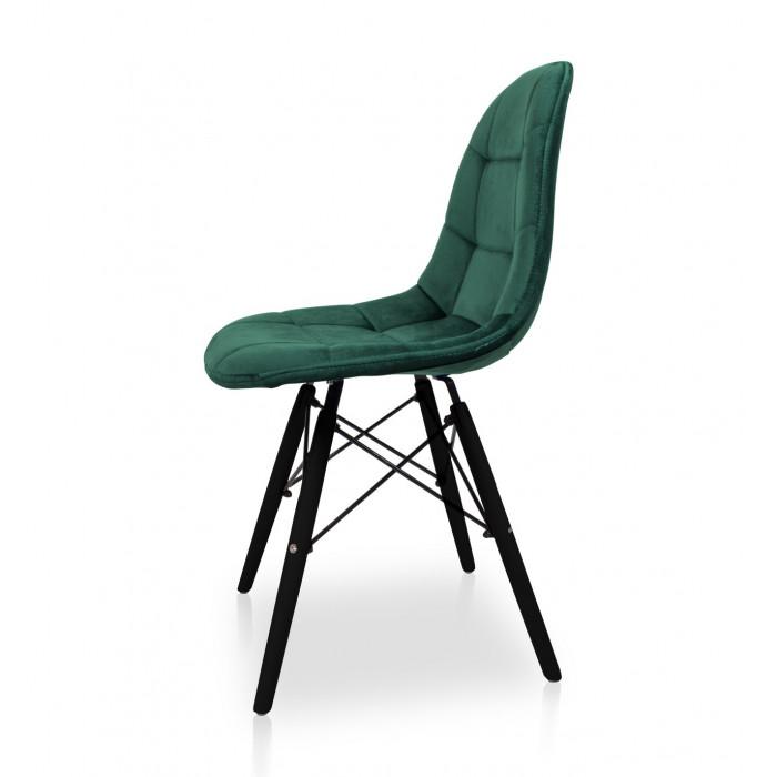Nowoczesne Krzesło do jadalni Fabio Velvet butelkowa zieleń z nogą czarną - bok