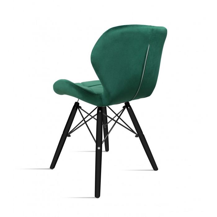 Krzesło do salonu Milo Velvet zieleń butelkowa na nodze czarnej - tył