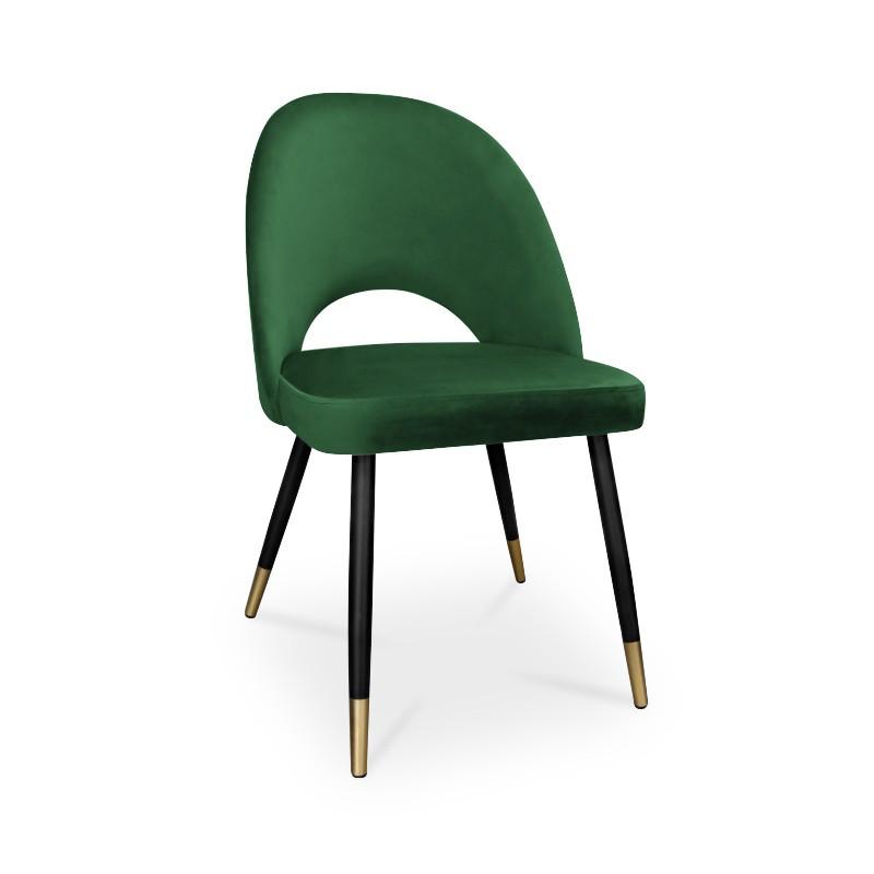 krzesło POLO / zieleń butelkowa / noga czarno-złota / MG25
