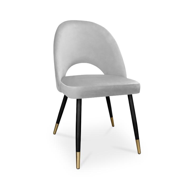 krzesło POLO / jasny szary / noga czarno-złota / MG39