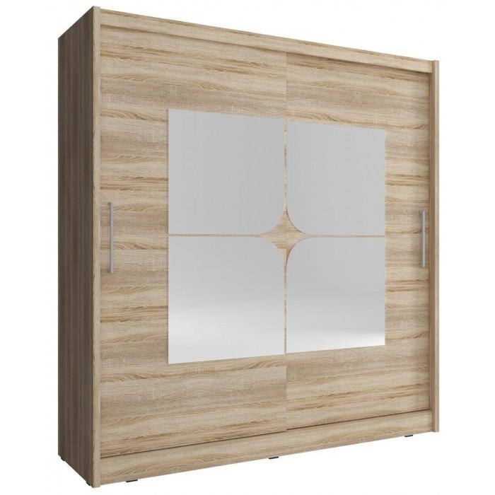Szafa przesuwna z lustrem MAJA VII 180 cm w kolorze dąb sonoma
