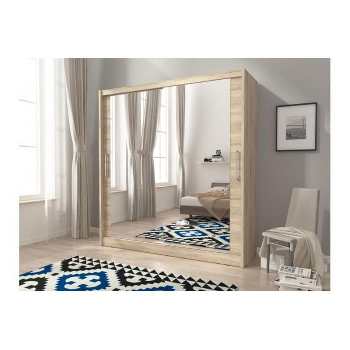 Szafa przesuwna na ubrania z lustrem MAJA VI 200 cm biała