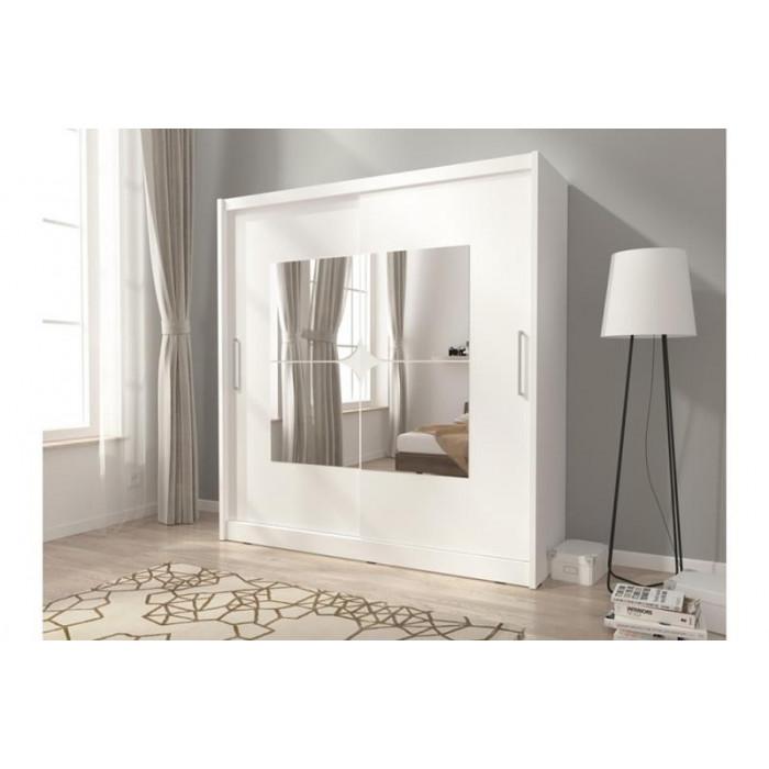 Biała szafa przesuwna z lustrem MAJA VII 200 cm