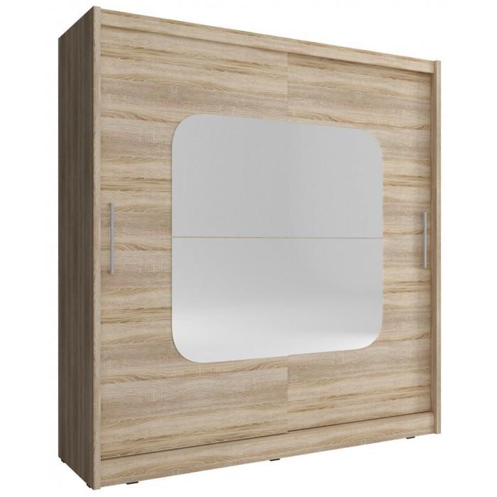 Szafa z przesuwnymi frontami MAJA VIII - 200 cm z lustrem dąb sonoma
