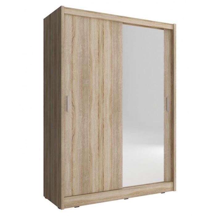 Szafa przesuwna z jednym lustrem MAJA 150 cm w kolorze sonoma