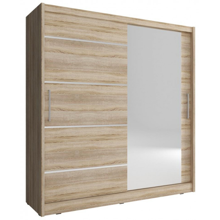 Przesuwna szafa do garderoby MAJA I ALU z lustrem 200 cm dąb sonoma