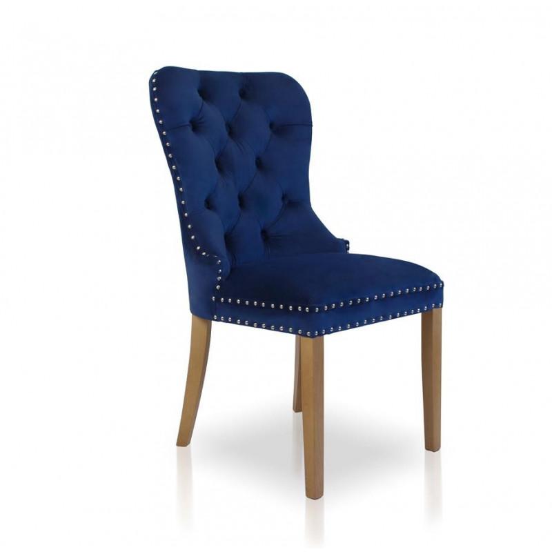 krzesło MADAME II GOLD niebieski/dąb SO263