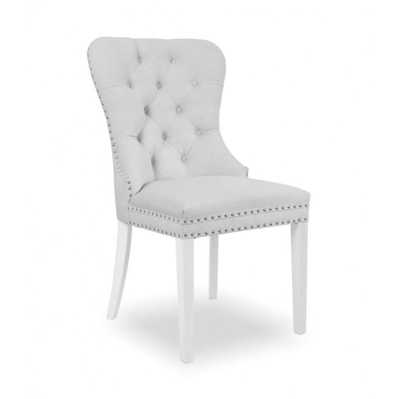 Krzesło MADAME II srebrny/ noga biała/ JA81