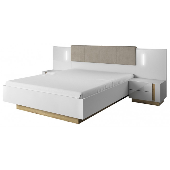 ALTO łóżko ze stolikami nocnymi / biały połysk + dąb grandson