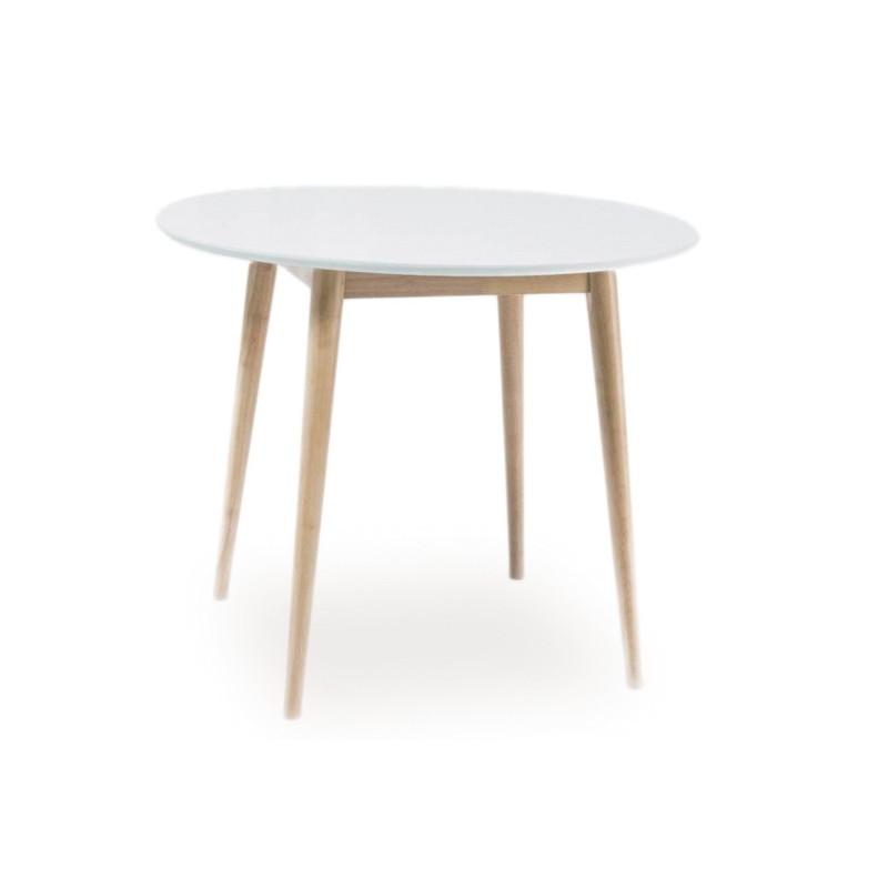 Okrągły stół Larson biały + dąb 90X90