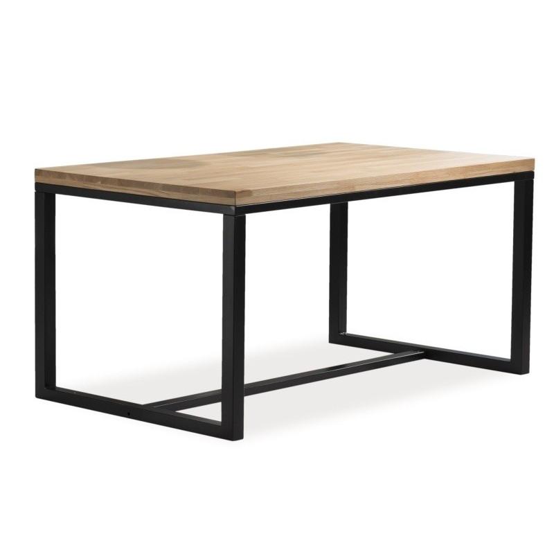 Duży stół do jadalni w stylu loft Loras II z naturalną okleiną dębową 180x90