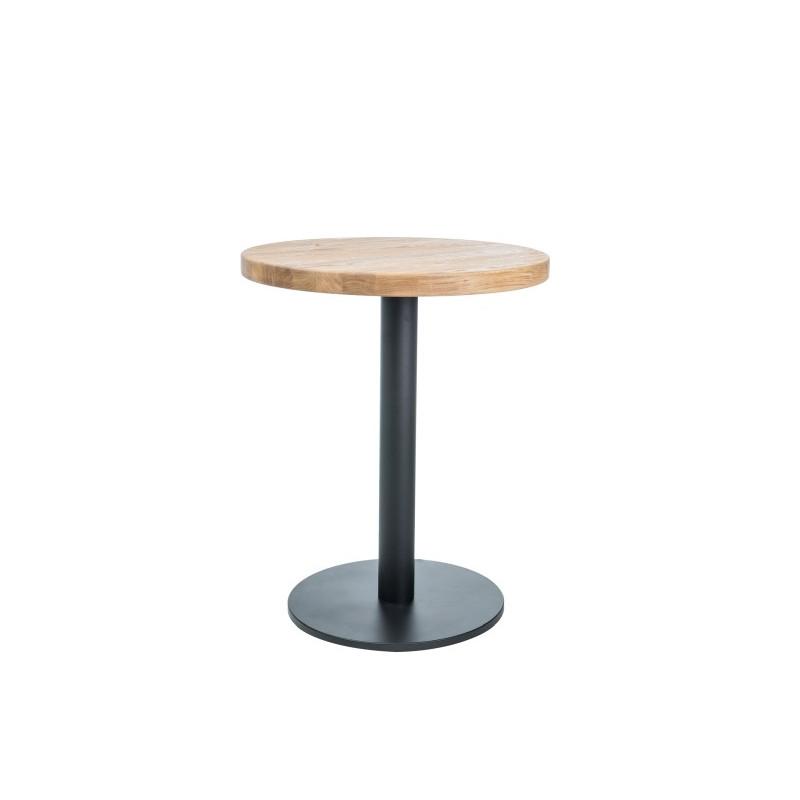 Dębowy stół Puro II okrągły z czarną nogą 80
