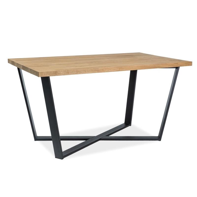 Loftowy stół MARCELLO okleina naturalny dąb noga czarna  150x90