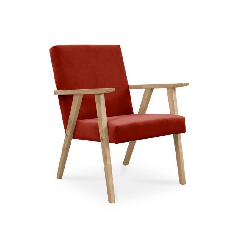 Fotel LISEK - PRL / czerwony / noga buk