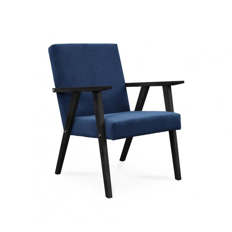 Fotel LISEK - PRL / granatowy / noga czarna