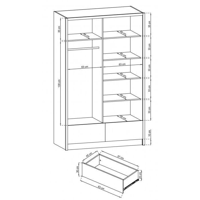 ARIA II - Szafa przesuwna z lustrami 130 cm biały połysk