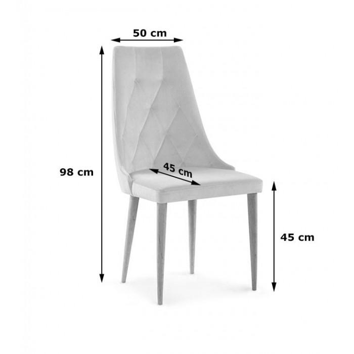 Nowoczesne krzesło z pikowanym oparciem CARO caren VELVET beżowy - wymiary