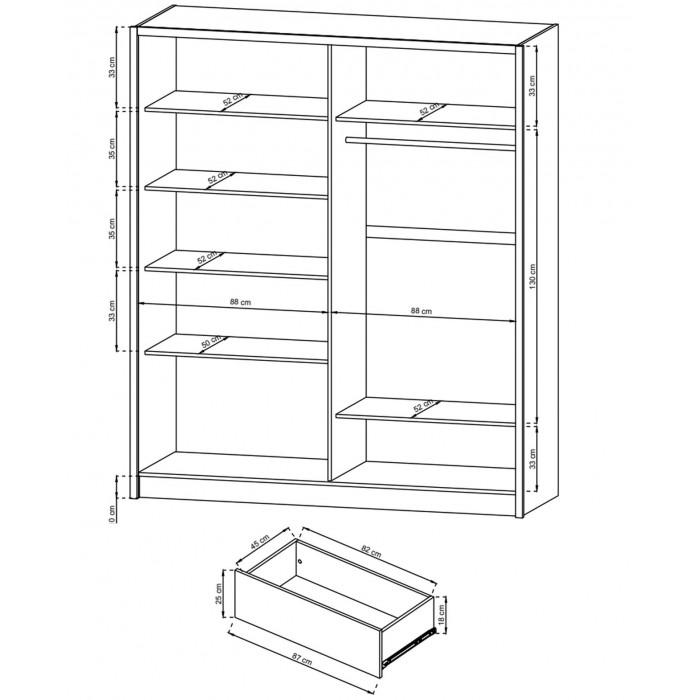 Szafa z drzwiami przesuwnymi lustrem  i szufladami SARA 180 cm biała