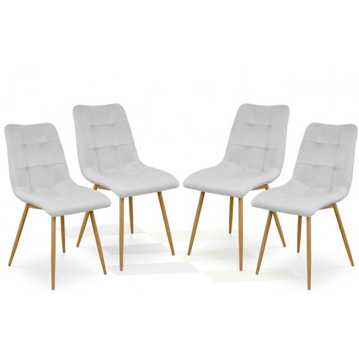 Zestaw nowoczesnych krzeseł tapicerowanych do salonu i jadalni BEN jasno szare z nogą  dąb - zestaw 4 szt