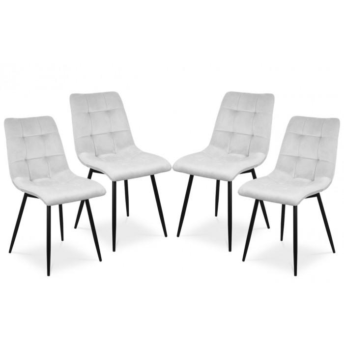 Zestaw nowoczesnych krzeseł tapicerowanych do salonu i jadalni BEN jasno szare z nogą czarną - zestaw 4 szt