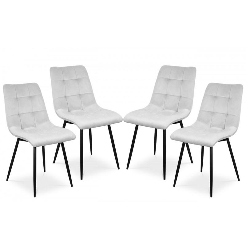Zestaw 4 krzeseł BEN jasnoszary / noga czarna