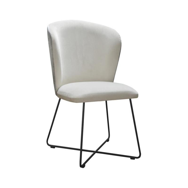 Tapicerowane krzesło do salonu Venus Cross na metalowych płozach
