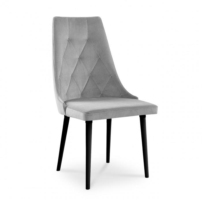 Nowoczesne krzesło z pikowanym oparciem CARO caren VELVET w kolorze srebrnym