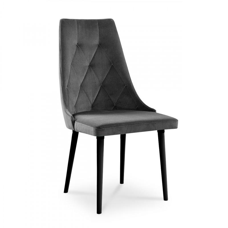 Wygodne krzesło tapicerowane CARO VELVET szary / PA06