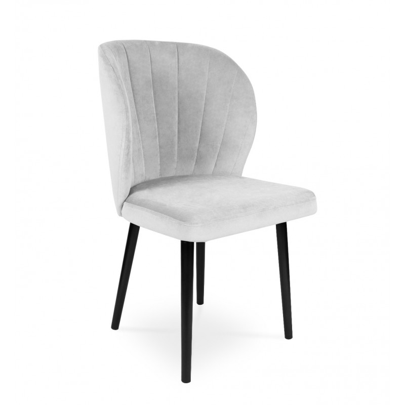 Krzesło tapicerowane SANTI velvet jasny szary / PA05