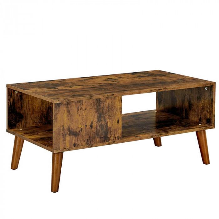 Stolik kawowy w stylu retro z półką